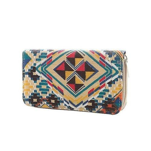 Canvas Printed Zip Around Closure Clutch - EZGetOne