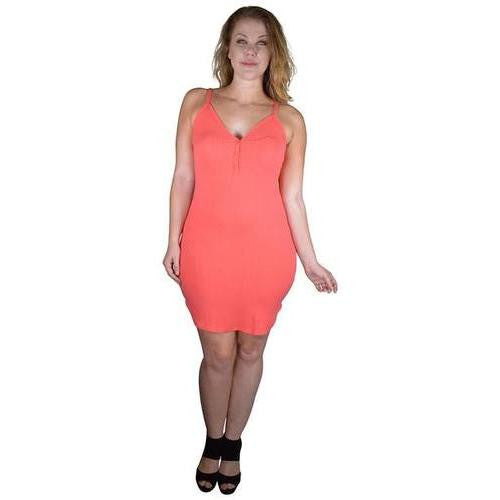 Plus Size Mini Dress with Front Button Fastening - EZGetOne