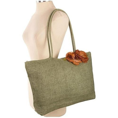 Flower Embellished Solid Tote Bag - EZGetOne