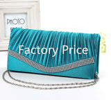 Women Satin Rhinestone Evening Clutch Bag Ladies Day Clutch Purse Chain Handbag Bridal Wedding Party Bag - EZGetOne