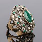 Fashion Vintage Jewelry Rings Unique plated Ancient Gold Mosaic AAA Crystal - EZGetOne