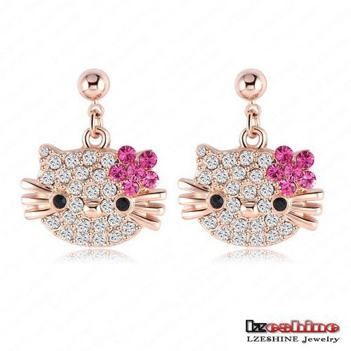 Lovely Cat Flower Stud Earring for Girls Rose Gold Plated Austrian Crystal Kitten Earings - EZGetOne