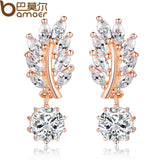HOT Trendy Jewelry Women Drop Earring Rose Gold Plated with CZ in Leaf Shape for Special Oorbellen - EZGetOne