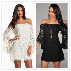 Fashion Cream Lace Off-The-Shoulder long dresses with sleeves ladies dress - EZGetOne