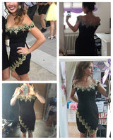Women Sexy Party Dress Gold Lace Applique Black Off Shoulder Mini Dress - EZGetOne
