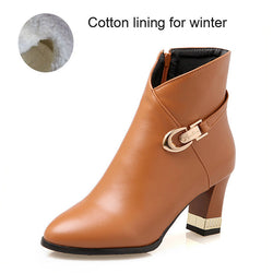 Winter Boots Fashion Martin Boots Women Casual Leather Boots Buckle Warm Plush Women Ankle Boots - EZGetOne