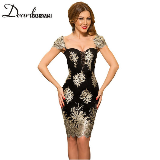 Gold Embroidery Puff Sleeve Sweetheart Mini Party Dress For Women - EZGetOne