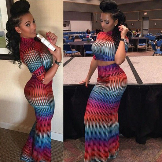 African dresses for women  2 pcs fashion half sleeve colorful long summer tops and skirts fashion casual robe dress - EZGetOne