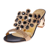 Fashion Women Big Rhinestone Cut-outs High Heel Sandals Ladies Party Shoes Woman Beach Slippers - EZGetOne