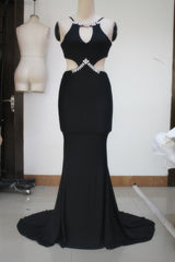 Robe longue Diamond Embellished Sexy Cutout Black Mermaid Dress Formal Floor length Party Dresses - EZGetOne