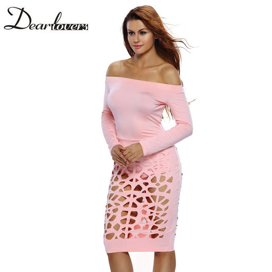 Sexy Night Club Bodycon Dress 2017 Pink Long Sleeve Off Shoulder Hollow Out Midi Dress For Women - EZGetOne