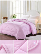 Winter Comforter Simple Solid Down Alternative Quilt Pink Gray Jade Soft Bedding - EZGetOne