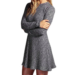 Women's Long Sleeve Casual Sweater Black Gray Blue Pink - EZGetOne