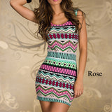 Women Casual Striped Mini Retro Dress Party Dress - EZGetOne