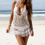 Women Beach Cover Up Sexy Strap Sheer Floral Lace - EZGetOne