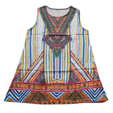 Boho Mini Beach Dress Geometric Print Tunic Short Chiffon Vintage Sleeveless - EZGetOne