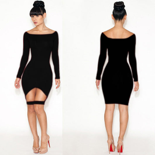 sexy women dress slimming hollow out party dress long sleeves - EZGetOne