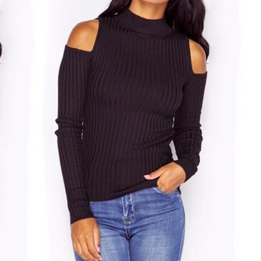 Sexy Cold Off Shoulder Women Tops Knitted Sweater Long Sleeve - EZGetOne