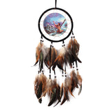 Oil Painting Totem Dream Catcher Feather Bead  Handmade Black Dream Catcher Net With feathers Ornament Dreamcatcher Wolf CA1T - EZGetOne