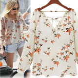 Lady Summer Style Casual Top Long Sleeve Tether Chiffon Floral Tee T-shirts - EZGetOne