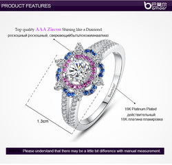 BAMOER  White Gold Plated Ring for Women with AAA Purple and Blue Zircon Surround Jewelry YIR044 - EZGetOne