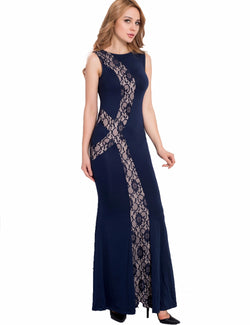 Newly party maix dress top sale woman dress hot sexy sleeveless long dress lace floor length - EZGetOne