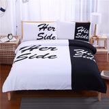 Set His Side & Her Side Home textiles Soft Duvet Cover and Pillowcases 3Pcs - EZGetOne
