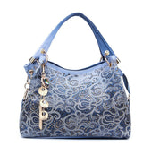 women leather bag hollow out ombre handbag floral print shoulder bags red/gray/blue - EZGetOne