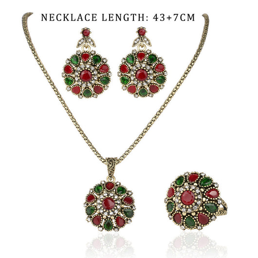 Crystal Flower Necklace Sets Fashion Earing For Women Turkish 3Pc - EZGetOne
