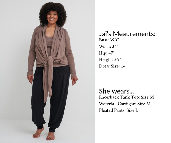 Farbrook Studio's sizing is comfortable and generous.  View the size chart and models' measurements here.