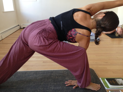 Elena Brower yoga teacher in NYC wears organic cotton PonyBabe yoga pants