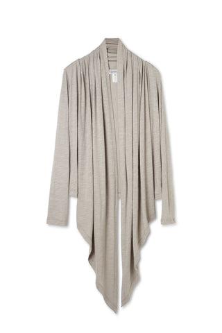 Light Gray Organic Cotton Bamboo Made in the USA Cardigan for Travel and Lounge and Yoga