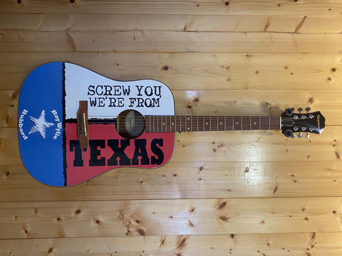 """Screw You We're From Texas"" Limited Edition Custom Epiphone Guitar signed by Ray Wylie Hubbard"