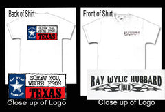 "Men's ""Screw You We're From Texas"" White Crew Neck TShirt (Back View) - ON SALE!"