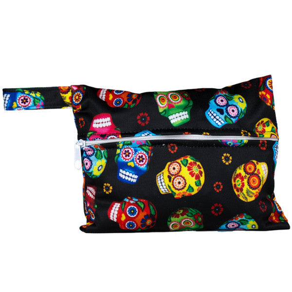 J & B Stay Dry Mini wet bag - Flower Skulls