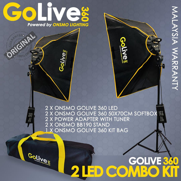 ONSMO GOLIVE 360 Led Studio Lighting Kit with Softbox Dual Kit (READY STOCK MALAYSIA)