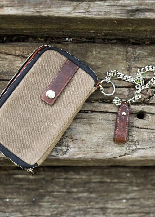 ##Pre-Order Only## Explorer Wallet | Waxed Canvas | Leather Travelers Wallet  ( Olive )