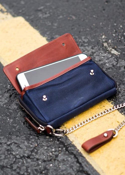 ##Pre-Order Only## Explorer Wallet | Waxed Canvas | Leather Travelers Wallet  ( Navy )