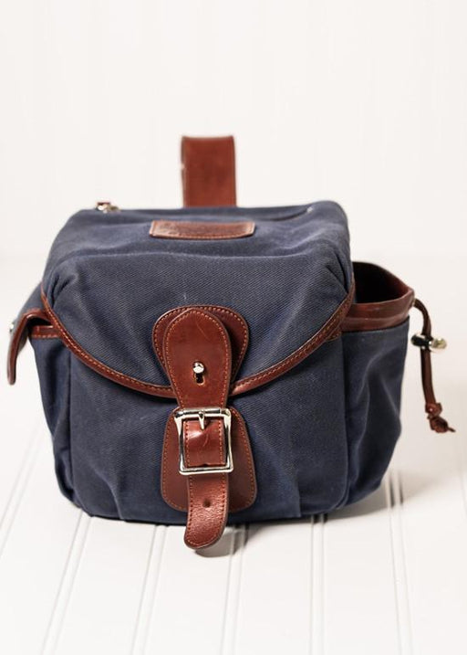 ##Pre-Order Only## Explorer Lens Pouch | Waxed Canvas & Leather Lens Bag ( Navy ) ( Small )