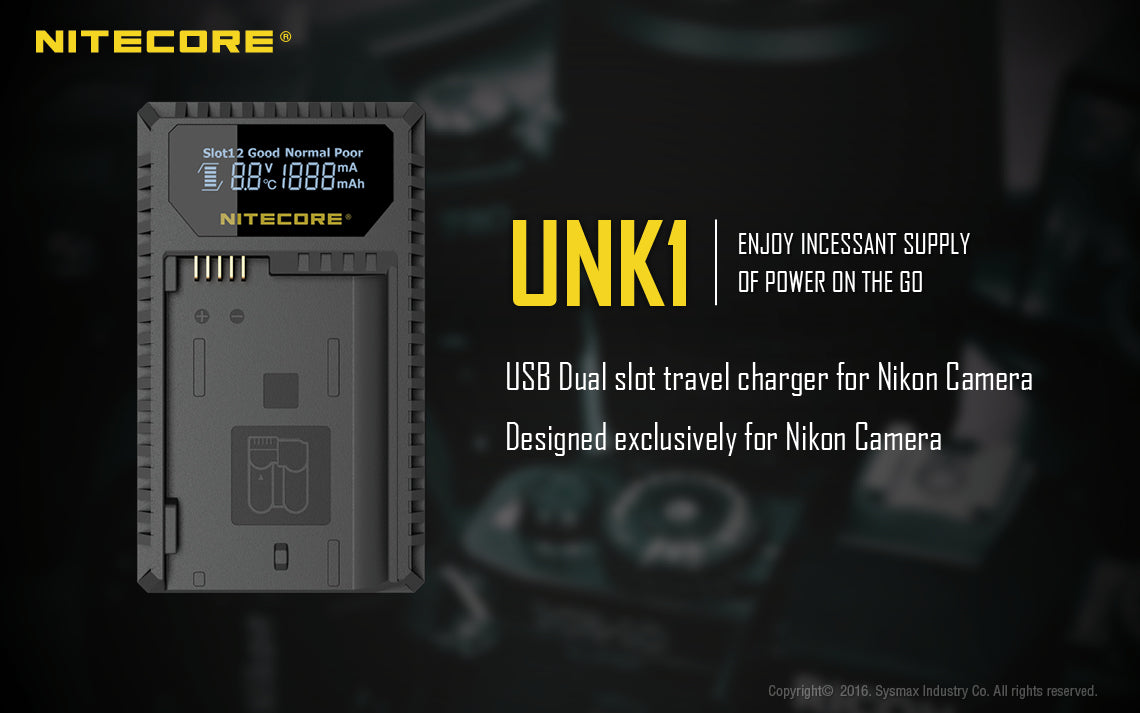 Nitecore Dual-Slot USB Travel Charger - NIKON