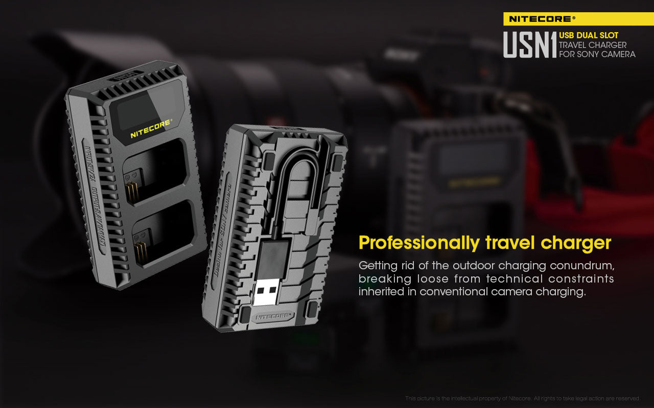 Nitecore Dual-Slot USB Travel Charger - SONY