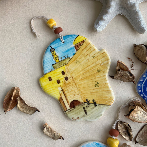 Hand painted ceramic Hamsa with the Jerusalem Western Wall view