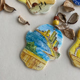 Hand painted ceramic Hamsa with Tel Aviv view