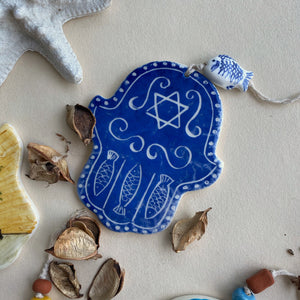 Hand made ceramic Hamsa with the Star of the King David