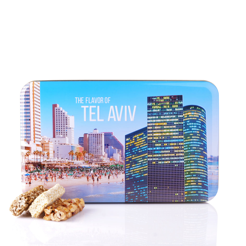 "Peanut, Sesame and Sunflower seeds bars in a tin box ""Tel Aviv"""