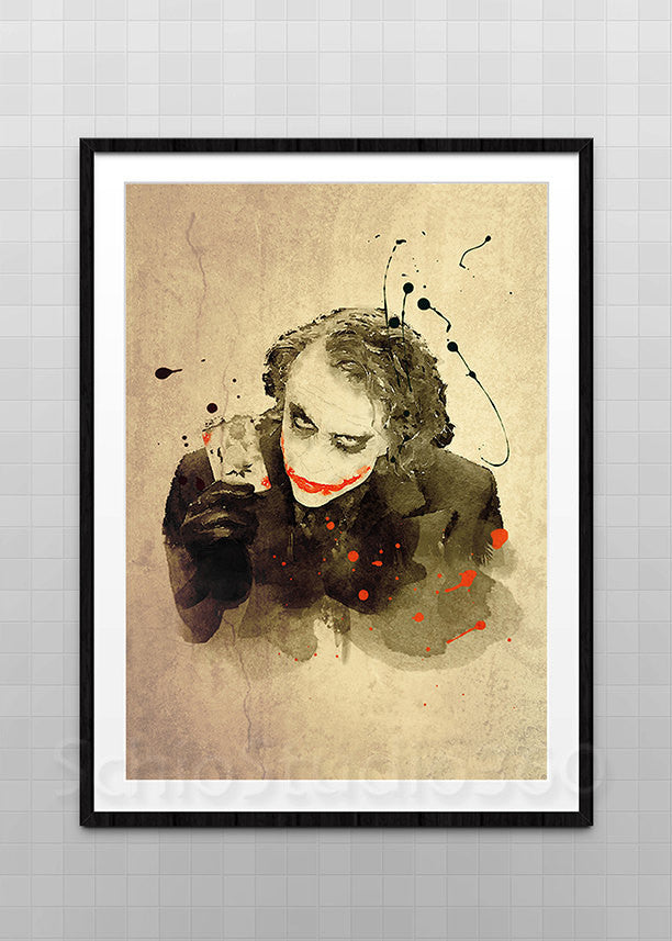 Joker Watercolor Art Print - Heath Ledger Joker Batman Archival Fine Art Print Home Decor Wall Art Wall Hanging Birthday Gift - schiostudio360