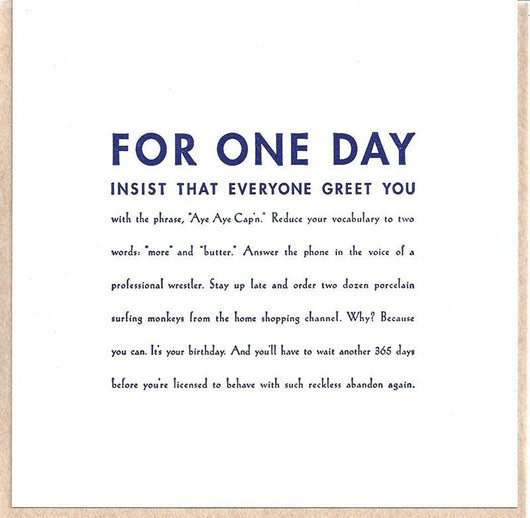 For One Day Card
