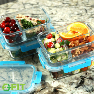 Meal Prep Containers Glass - Glass Lunch Containers - Fridge Kitchen Storage Tupperware Set by FIT Strong & Healthy