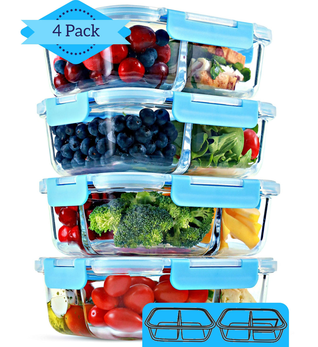 Premium Quality 2 3 Compartment Glass Meal Prep & Food Storage Containers Online - FIT Strong & Healthy