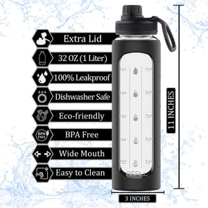 32 oz Glass Water Bottle with Time Marker Reminder, Removable Black Silicone Sleeve and EXTRA LID